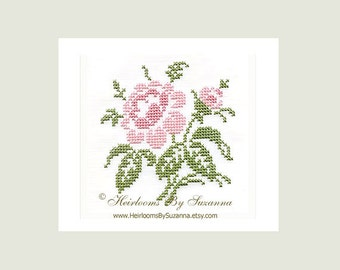 Gorgeous Antique Cross Stitch Rose Design - Machine Embroidery Design - Cross Stitch Design - Floral Design - Antique Rose-1