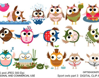 Sport owls part 3 digital clip art for Personal and Commercial use - INSTANT DOWNLOAD