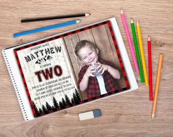 Lumberjack Birthday Invitation | Lumberjack 1st Birthday | Rustic Birthday Invtiation | Buffalo Plaid Invitation | Hunter Plaid Invitation