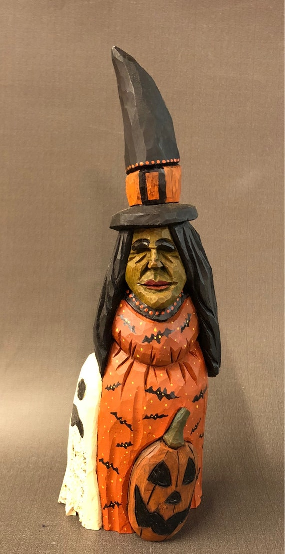 HAND CARVED original Halloween Witch with Ghost and jack-o-lantern from 100 year old Cottonwood Bark