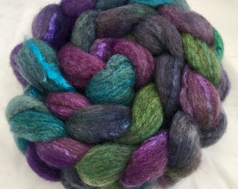 Hand dyed wool top, BFL, Tussah silk, Bluefaced Leicester, silk, spinning  wool,  fibre, handspinning, felting projects, felting materials