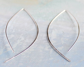 Thin Silver Hoop Earrings - Open Almond Hoops - minimalist jewelry, silver earrings, thin hoop earrings