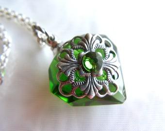 Emerald Green Diamond Essential Oil / Perfume Bottle Necklace