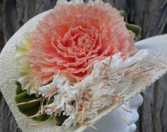 Peach Rose Fuchsia Ribbon Flower Millinery Applique