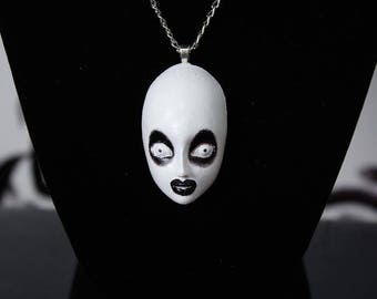 CLEARANCE, Sharon needles, drag queen, art, hand painted necklace, ooak, one of a kind, necklace, pendant, cabochon