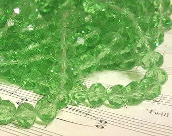 Glass Beads - 30 pcs. - Faceted Glass Beads - Light Green Beads - 10mm x 7mm Beads - Green Rondelle Beads