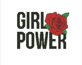 Buy 2 Get 1 Free-Girl power Cross Stitch Pattern-modern cross stitch-easy cross stitch-Feminist-rose-lettering-PDF pattern-Download-P-131