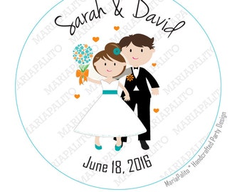 Wedding Stickers, Personalized Wedding PRINTED round Stickers, tags, Labels or Envelope Seals, Bride and Groom Stickers  A1259