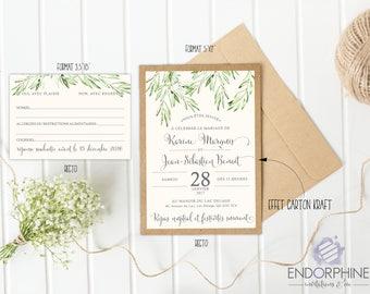 Vegetable print wedding invitation. Invitation + RSVP card