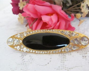 Large Vintage Oval Rhinestone Brooch / Pin with Black Insert