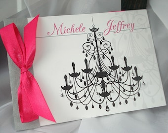 Crystal Chandelier Booklet Style Wedding Invitation with Rhinestone Embellishments... Sample