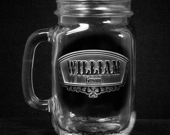 Groomsmen Gifts, Country Wedding Mason Jar Mugs with Handle, Favors, Set of 6 (groommason)