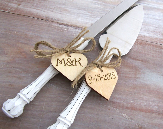 Rustic Chic Wedding Cake Server And Knife Set, White with Personalized Wood Hearts, Bridal Shower Gift, Wedding Gift