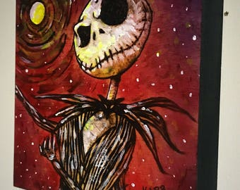 Jack Skellington original wood burning/pyro art on wood. Small painting 6x6 with airbrush and acrylic by Wyoming artist Mike Karr!