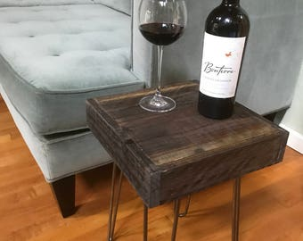 25% OFF SALE - Rustic Side Table - Industrial - Modern Reclaimed Barn Wood with Vintage Steel Iron Hairpin Legs