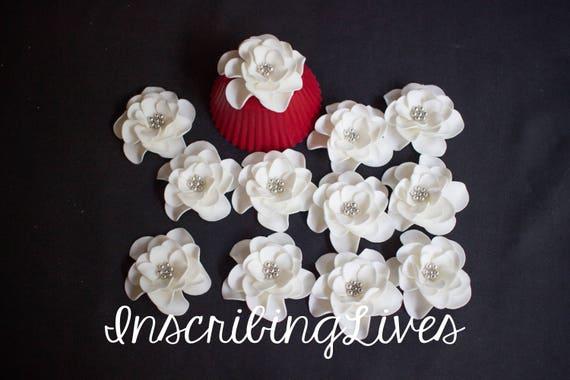 White fondant flowers 12pcs shabby chic white silver blossom mightylinksfo