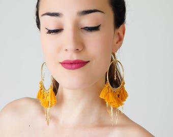 Hoop Earrings Tassel Earrings Yellow Earrings Tassel Jewelry Boho Earrings Gypsy Earrings Fashion Jewelry Party Jewelry for Women / TASSERA