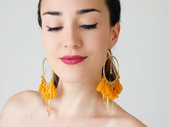 Hoop earrings tassel earrings yellow earrings tassel jewelry for Mustard colored costume jewelry