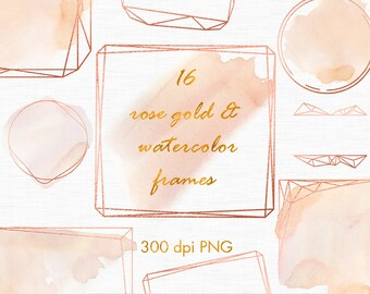 Rose gold watercolor frames, Rose gold overlays, Watercolor frames clipart, Rose gold design elements, Wedding clipart, Polygonal clipart