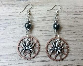 Steampunk spider earrings
