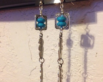 Silver and turquoise feather dangle earrings