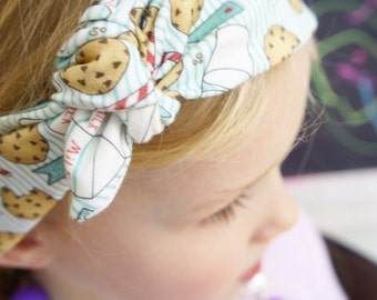 If you give a mouse a cookie organic headband, bow, headwrap