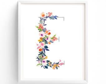 Letter E, Printable Letter Monogram, Nursery Art. Art Prints, Baby Girl Nursery, Wall art Prints