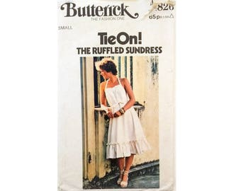 Vintage Butterick #4826 Ruffle Edge Boho Wrap Sundress Sewing Pattern Size Small