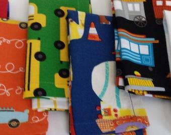 Kids Cloth Napkin Set of 6 // Transportation // Lunchbox Napkins // Kids Handkerchief // Party Favor // Stocking Stuffer //Gift for Kids
