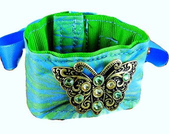Wrist Cuff tattoo cover -  jeweled butterfly on green and turquoise custom designed and printed cloth