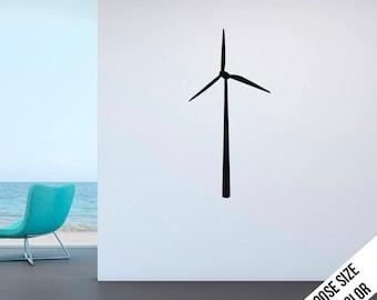 Wind Turbine Wall Decal - Vinyl Sticker  - Wind Mill - Solar, Renewable energy, green