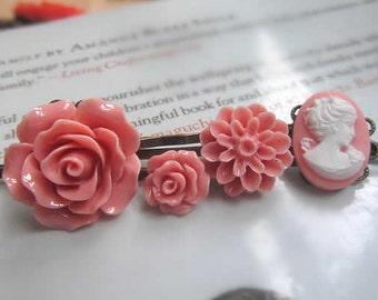 Salmon collection  bobby salmon big rose, salmon pink little rose, salmon  dahlia peach coral woman cameo, pink rosebud 5pcs
