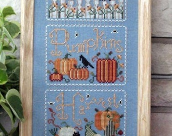 Cross Stitch Chart Pumpkins and Crows Blue Linen White Picket Fence Counted Cross Stitch