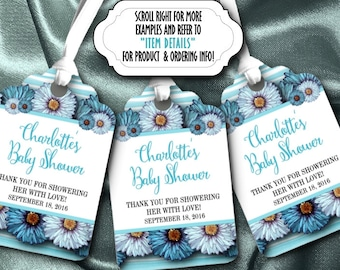 12 Personalized Favor Tags, Gift Tag, Wedding, Bridal Shower, Baby Shower, Birthday, Quinceanera, Spring Floral Design, Five Colors