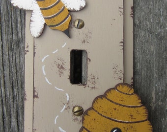 HONEY BEE & HIVE Switch Plate Cover - Original Hand Crafted Hand Painted Wood