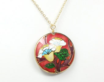 Vintage Cloisonne Flowers and Branches Circle Pendant Necklace, Flower Necklace, Floral Necklace, Hand Painted Necklace, Gold Enamel