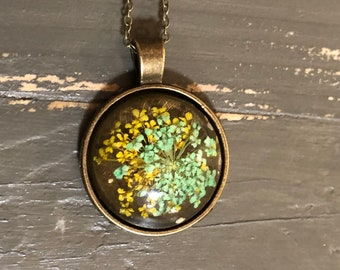 Real Flower Necklace - Antiqued Bronze -Birthday Gift - Mother's Day Gift