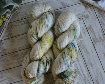 "Fingering Weight, Van Gogh Series: ""The White Orchard"", Superwash Merino Nylon Blend, Hand Dyed Yarn, Sock Weight, 100g"