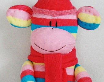 Stuffed Toys, Sock Monkey Doll Pink Cream and Blue, Stuffed Animal, Kids