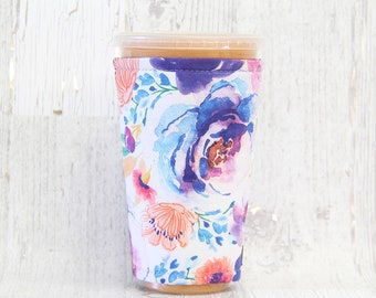 Violet Florals Cozy, Cup Cozy, Iced Coffee Cozy, Cup Sleeve, Coffee Cozy, Coffee Cuff,