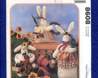 McCalls 8608 Folk Art Bunny Home Decor Stuffed Animals UNCUT