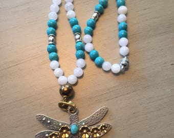 Beautiful Dragonfly Necklace with Howlite, Moonstone and Copper Hematite ~ Crown Chakra ~ Throat Chakra  ~ Root Chakra