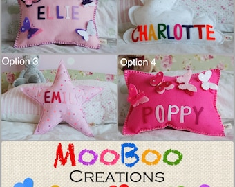 Personalised cushion - personalised felt cushion - butterfly cushion - star cushion - cloud cushion - nursery decor - MADE TO ORDER