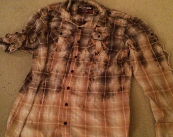 Distressed plaid shirt - bleached dipped splattered recycled- Size xxl (men's / unisex) (S12)