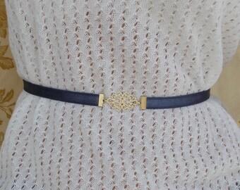 Bridesmaids Blue Belt - Gold Buckle - Vintage Inspired - Gold Belt - Elastic Belt - Wedding belt - Gray Belt - Skinny Belt - Navy Belt
