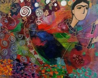 Frida Kahlo art mix media print AVAILABLE IN ORIGINAL (130.00) Dlls