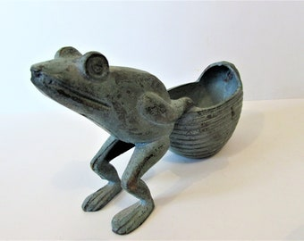 Sculptural Brass Frog Holding A Container/Vase.