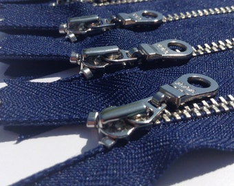 YKK metal zippers with silver nickel teeth and donut style pull- (5) pieces - Navy 919- Available in 6,7 and 9 Inches