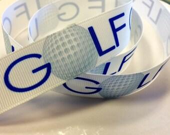 7/8 inch GOLF on White Blue THIN Font -  Golf Clubs - Golf Balls - Sports - Printed Grosgrain Ribbon for Hair Bow