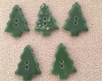 Buttons Christmas Tree Hand Made Hand Painted Fired Clay Glazed Set Of 5